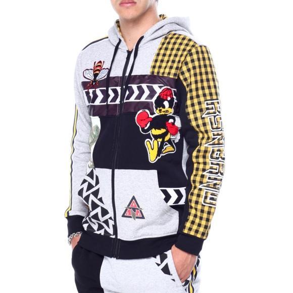 Reason Clothing Mash Up Hoodie Zip Jacket L Bees